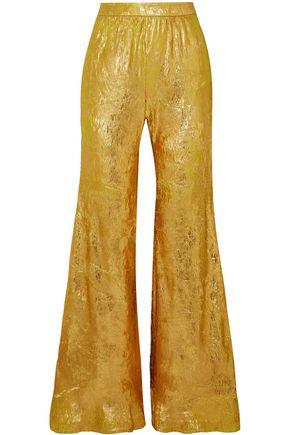 HALPERN Metallic plissé-georgette flared pants