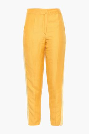 LES HÉROÏNES by VANESSA COCCHIARO Cropped linen-blend shantung tapered pants