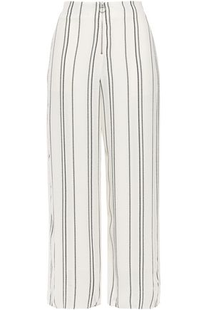 PROENZA SCHOULER Cropped distressed striped crepe wide-leg pants