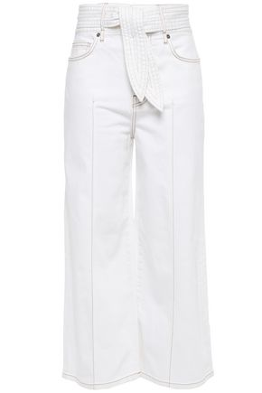 JOIE Cropped belted high-rise wide-leg jeans