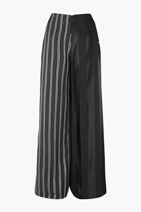 ESTEBAN CORTAZAR Striped satin wide-leg pants