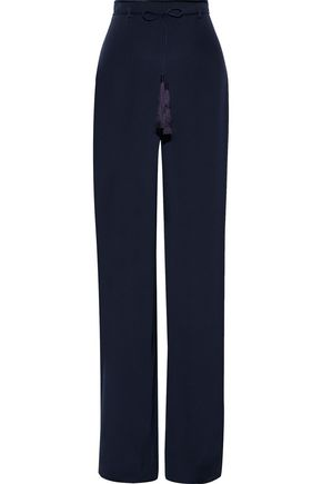 CUSHNIE Tasseled silk crepe de chine wide-leg pants