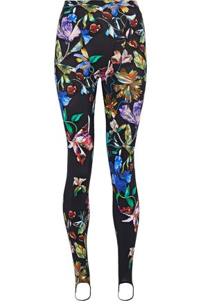 MUGLER Printed stretch-jersey stirrup leggings
