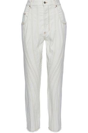 MUGLER Paneled denim straight-leg jeans