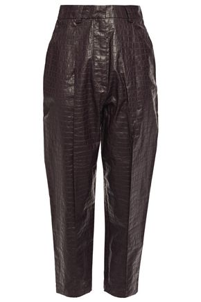 BEAUFILLE Croc-effect faux leather tapered pants