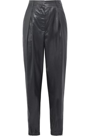 TIBI Pleated coated-shell tapered pants