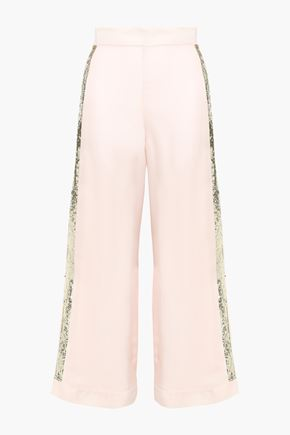 TEMPERLEY LONDON Sycamore sequin-trimmed twill wide-leg pants