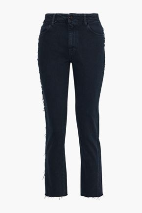 IRO Act frayed high-rise slim-leg jeans