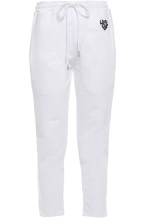 MARKUS LUPFER Daria appliquéd cropped French cotton-terry track pants
