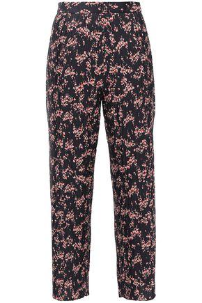 MARKUS LUPFER Rae cropped floral-print plissé-crepe wide-leg pants
