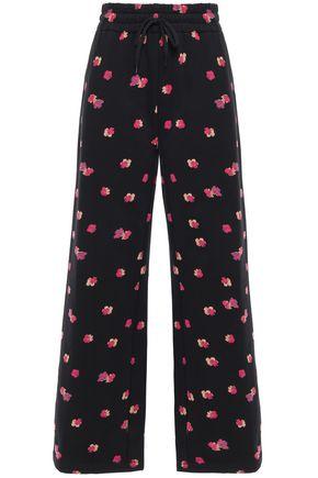 REBECCA TAYLOR Floral-print cotton-fleece track pants