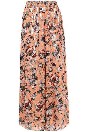 DIANE VON FURSTENBERG Birdie metallic floral-print fil coupé silk-blend wide-leg pants