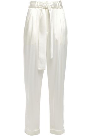 BALMAIN Belted satin-crepe tapered pants