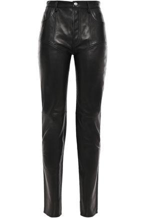 MUGLER Reversible leather slim-leg pants