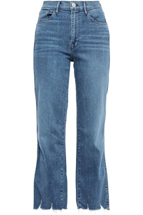 3x1 Eliza cropped distressed high-rise straight-leg jeans