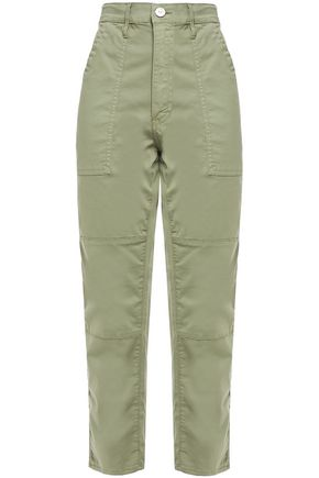 3x1 Cotton-blend twill high-rise straight-leg pants