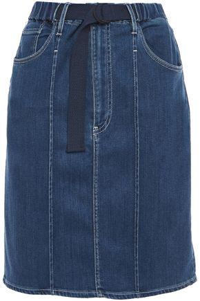 3x1 Belted gathered denim mini skirt