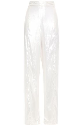MICHAEL LO SORDO Metallic velvet straight-leg pants