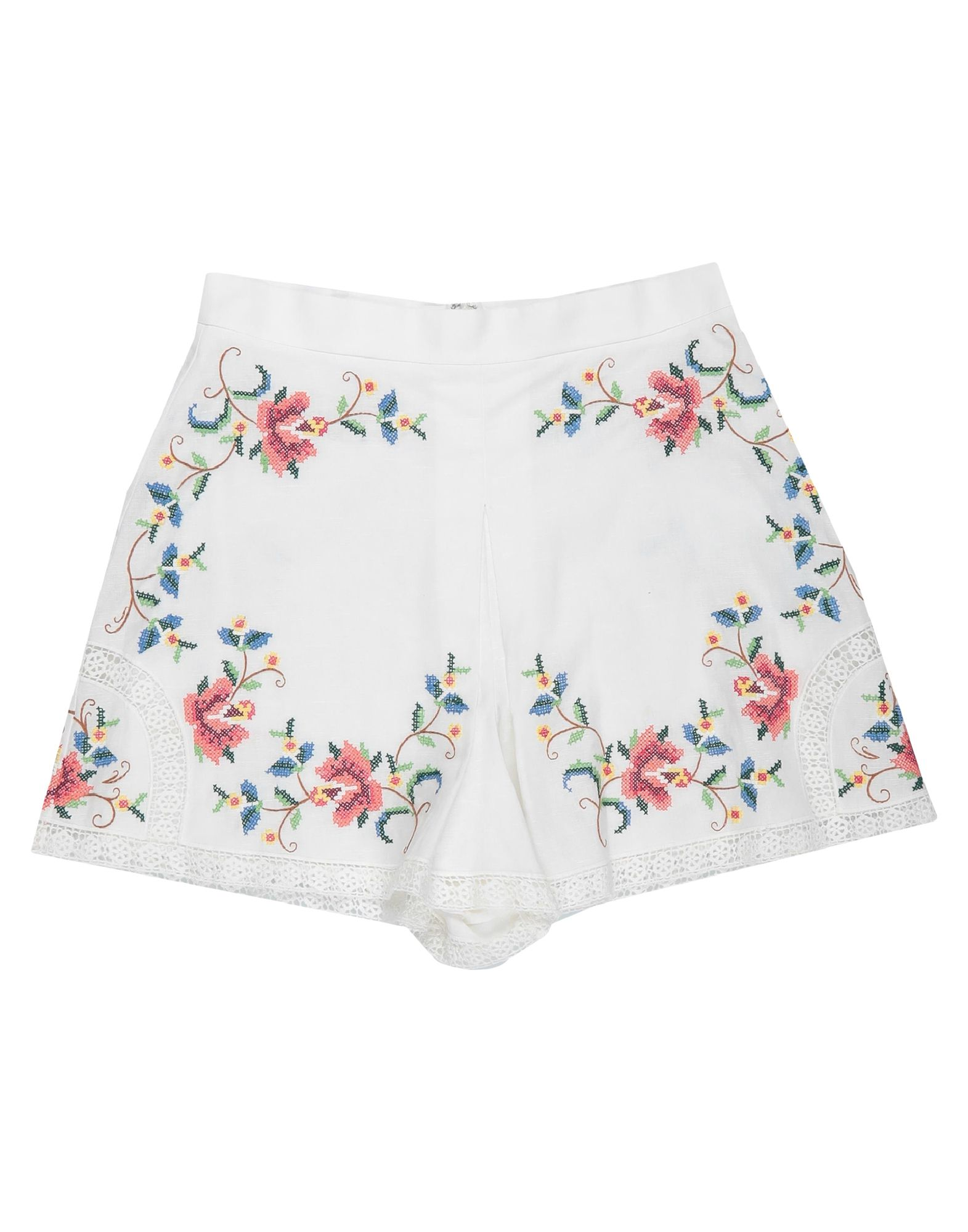 ZIMMERMANN Shorts. plain weave, embroidered detailing, solid color, high waisted, zip, no pockets, unlined. 55% Linen, 45% Cotton