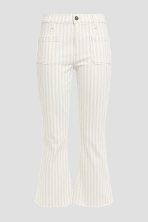 FRAME Courtyard frayed striped mid-rise kick-flare jeans