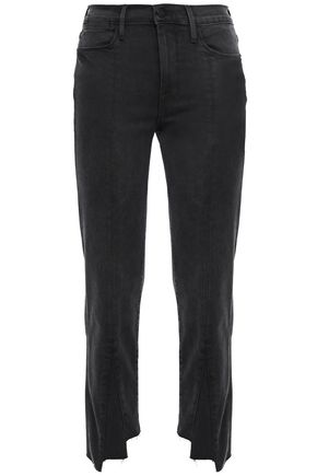 FRAME Cropped frayed high-rise slim-leg pants