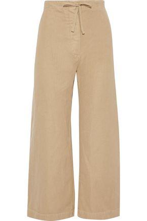 NILI LOTAN Natalia cropped cotton and linen-blend twill wide-leg pants