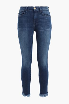 FRAME Le Skinny De Jeanne cropped frayed mid-rise skinny jeans
