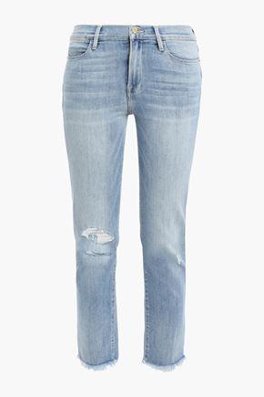 FRAME Hendrix cropped distressed mid-rise slim-leg jeans