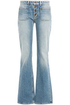 SAINT LAURENT Button-detailed frayed mid-rise bootcut jeans