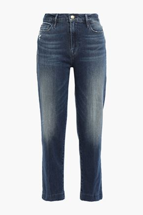 FRAME Le Nouveau Straight cropped distressed high-rise straight-leg jeans