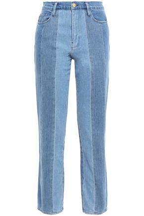 FRAME Le Sylvie paneled faded high-rise straight-leg jeans
