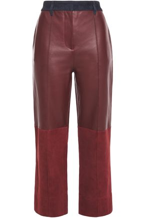 VICTORIA, VICTORIA BECKHAM Paneled suede and leather straight-leg pants