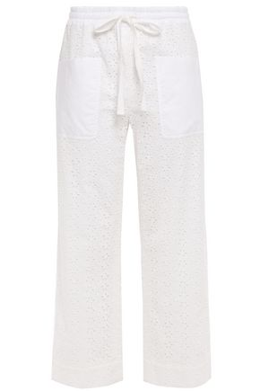 TORY BURCH Cropped broderie anglaise cotton straight-leg pants