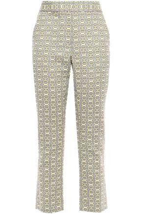 TORY BURCH Gemini cropped cotton-blend jacquard slim-leg pants