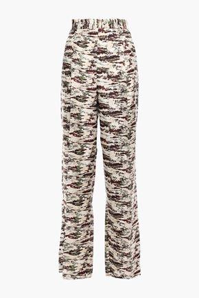 VICTORIA BECKHAM Printed silk-twill wide-leg pants