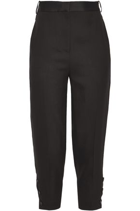 VICTORIA, VICTORIA BECKHAM Satin-trimmed woven tapered pants