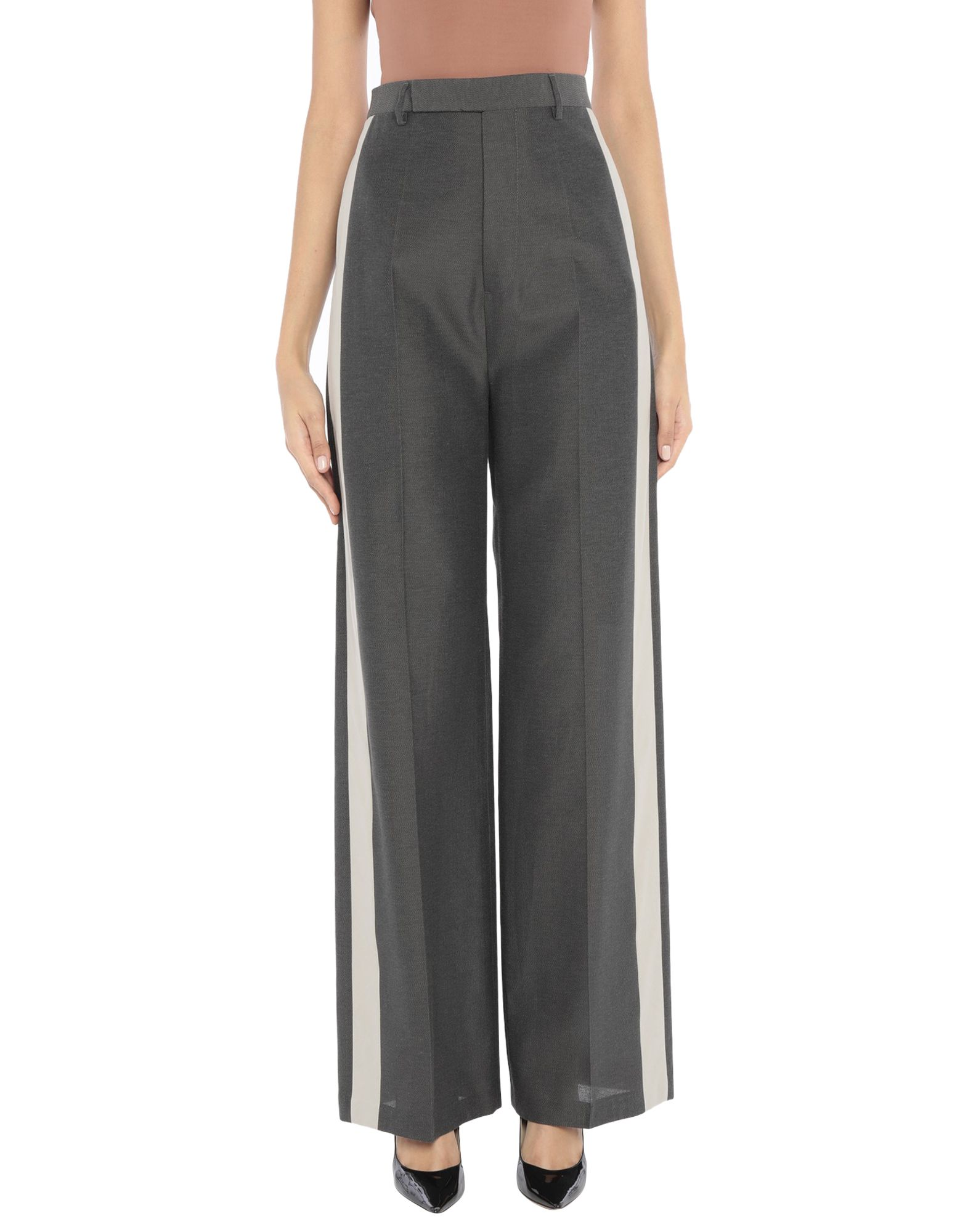 RICK OWENS Casual pants. plain weave, side seam stripes, solid color, high waisted, comfort fit, wide leg, button closing, multipockets. 47% Viscose, 38% Cotton, 15% Silk