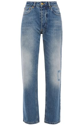 VICTORIA, VICTORIA BECKHAM Distressed high-rise straight-leg jeans