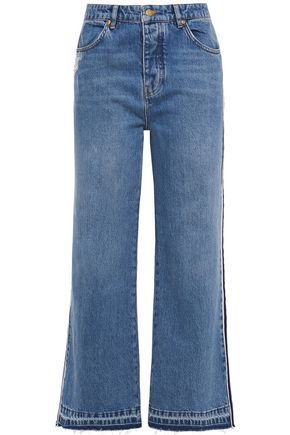 VICTORIA, VICTORIA BECKHAM Distressed high-rise wide-leg jeans