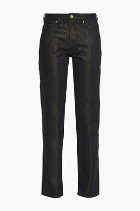 VICTORIA, VICTORIA BECKHAM Metallic low-rise straight-leg jeans
