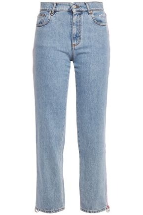 MSGM Ring-embellished embroidered striped high-rise straight-leg jeans