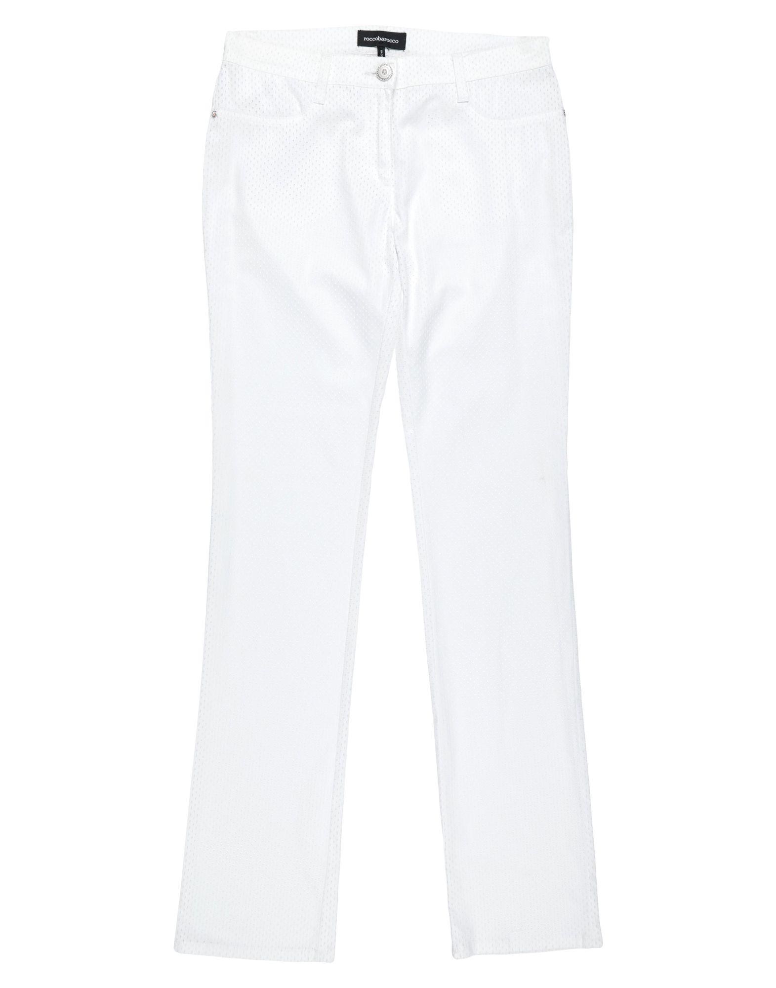 《セール開催中》ROCCOBAROCCO レディース パンツ ホワイト 30 コットン 97% / ポリウレタン 3%