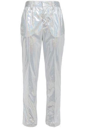 MSGM Cropped suede-effect iridescent woven straight-leg pants