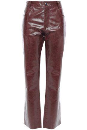 VICTORIA BECKHAM Glossed cracked-leather straight-leg pants