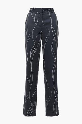 EQUIPMENT Printed washed silk-blend straight-leg pants