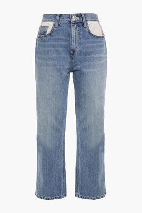 CURRENT/ELLIOTT Cropped distressed mid-rise straight-leg jeans