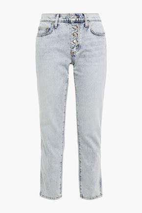 CURRENT/ELLIOTT Bleached mid-rise slim-leg jeans