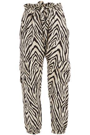 CURRENT/ELLIOTT The Roxwell zebra-print twill track pants