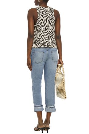 CURRENT/ELLIOTT Distressed cropped mid-rise straight-leg jeans