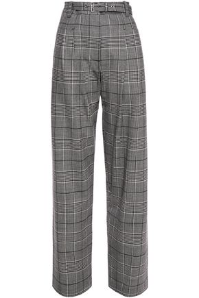 PROENZA SCHOULER Pleated Prince of Wales checked stretch-wool wide-leg pants